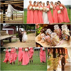 Country Barn Wedfing Inspiration  Coral Pink Bridesmaid Dress & Great Details