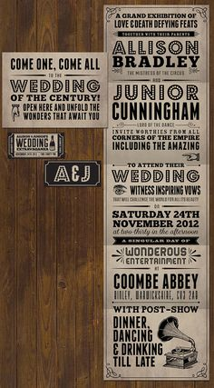 PDF PRINT YOURSELF Carnival circus vintage theatre poster style wedding invitation with ticket (steampunk, Victorian, typographic) diy