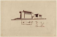 """Unity Temple, Oak Park, Illinois, Exterior perspective and partial plan  Frank Lloyd Wright (American, 1867–1959). c. 1929-30. Ink and graphite on paper, 23 1/4 x 34 7/8"""" (59.1 x 88.6 cm). Gift of Patricia Phelps de Cisneros, The Lauder Foundation, Leonard and Evelyn Lauder Fund, and Victoria Newhouse Purchase Fund. © 2012 Frank Lloyd Wright Foundation / Artists Rights Society (ARS), New York"""