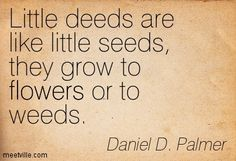 Little deeds are like little seeds, they grow to flowers or to weeds. Daniel D. Palmer