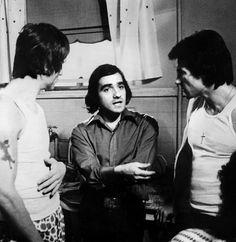 """Robert de Niro, Martin Scorsese y Harvey Keitel en el rodaje de """"Malas Calles"""" (Mean Streets), 1973"""
