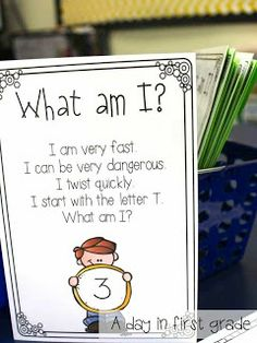 "The perfect center for helping young students work on their critical thinking skills. ""What am I?"" has students read clues and then record what they think the answer is. After they record it, they can look in the envelope to see if they were correct."