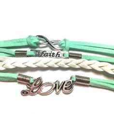 Light green white love faith infinity bracelet Like green and white love faith infinity bracelet adjustable 7 inches to 8 inches Jewelry Bracelets