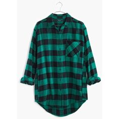 MADEWELL Flannel Sunday Shirt in Buffalo Check ($88) ❤ liked on Polyvore featuring tops, flannels, shirts, true black, black shirt, oversized button down shirt, long button up shirt, oversized flannel shirt and button up shirts