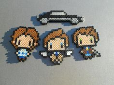 Supernatural Set (Dean, Sam, Castiel, and the Impala) perler beads by WildCardWhimsys