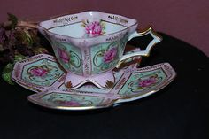 This RARE ROYAL SEALY CHINA Unusual square Saucer Pale pink/4 footed tea cup