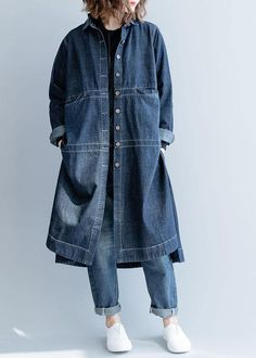 Denim Blouse, Denim Outfit, Minimalist Dress, Outfits Mujer, Blouses For Women, Women's Blouses, Blue Coats, Loose Shirts, Fall Jackets