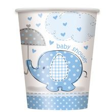 9oz Blue Elephant Baby Shower Paper Cups, 8ct