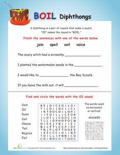 Worksheets Diphthong Worksheets free printable worksheets and on vowel diphthongs