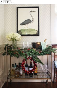 our bar cart decorated for christmas. Good Bones, Great Pieces.