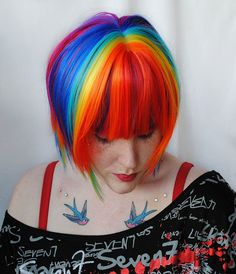 SALE $83.20 // RAINBOW EXPLOSION wig // Blue Purple Green Yellow Red by MissVioletLace on etsy,
