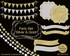 SILVER & GOLD Party Clipart Set Commercial Use by ClipArtBrat