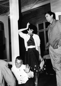 Ava Gardner and Gregory Peck on set of On The Beach (1959)......Uploaded By www.1stand2ndtimearound.etsy.com