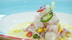 Torres en la cocina - Ceviche con sopa de maíz, Torres en la cocina - RTVE.es A la Carta Ceviche, Fish, Salads, Dishes, Corn Chowder, Sea Bass, Pisces
