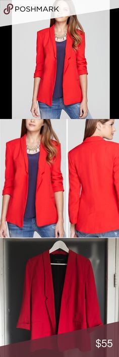 French Connection Bold Red, Soft Tailored Blazer This gorgeous French Connection blazer adds instant pigment pop to pants and skirts alike. Red outer layer with black lining. Welt pockets, notch lapel and optional roll up cuffs. Open silhouette with vented back. Wear with white tee and boyfriend jeans or pair with black leather leggings for a more polished look. Size 8 US. New without tags, never worn. Sold out style.  Viscose outer /polyester lining Dry clean Imported Notch lapel, open…