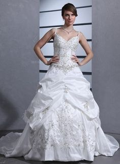 Ball-Gown Sweetheart Chapel Train Taffeta Wedding Dress With Embroidered Ruffle Beading Sequins (002012566) on WearsPress