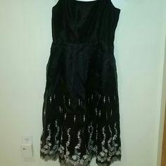 Black evenine dress with spaghetti straps Allen Schwartz formal evening dress. Worn once. Spaghetti straps and embroidery details on dress. Chhiffon material. ABS Allen Schwartz Dresses