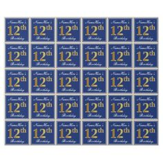 Elegant Blue Faux Gold 12th Birthday  Name Wrapping Paper - paper gifts presents gift idea customize