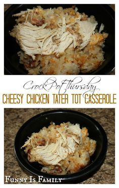 My kids went crazy for this quick and easy Crockpot Cheesy Chicken Tater Tot Casserole recipe! This dinner idea is a hearty and family-friendly meal everyone will love.