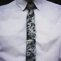 White Polka Dot Shirt, Urban Camo Skinny Tie.
