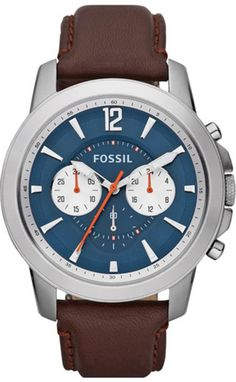 Fossil Grant Leather Watch Brown #FS4708 , Fossil Watch Men