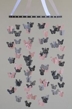 Butterfly Mobile  Baby Crib Mobile in Light Pink by BabyJayDecor, $55.00