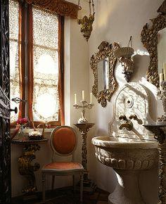 Powder Room:  by Norman and Joane Askins--Atlanta, Ga. from Things That Inspire: An evening at architect Norman Askins' Italian Villa