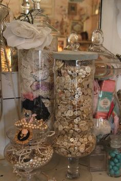 """Nice idea """"buttons and lace storage idea Perfect for my grandmothers vintage buttons"""" Antique Lace, Vintage Lace, Vintage Decor, Vintage Display, Shabby Vintage, Antique Dolls, Sewing Room Decor, Sewing Rooms, Craft Room Storage"""