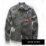 AAPE Denim Button Up Patchwork Shirt Denim Button Up, Button Up Shirts, Stylish Men, Gentleman, Military Jacket, Street Wear, Sew, Jackets, Clothes