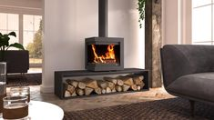 Stove Fireplace, Wood Fireplace, Modern Fireplace, Living Room With Fireplace, Fireplace Design, Fireplace Inserts, Fireplace Ideas, Modern Wood Burning Stoves, Wood Stoves