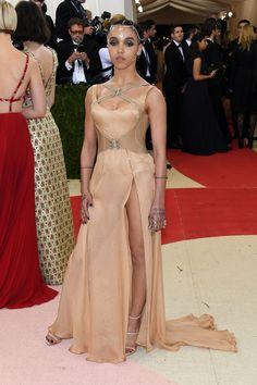 2016 Met Gala FKA twigs in an Atelier Versace dress and Giuseppe Zanotti shoes