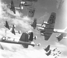 100th Bomb Group B-17s in tight formation. WWII