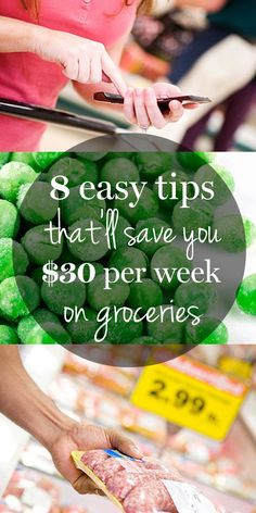 8 easy tips to save $30 per week on groceries.