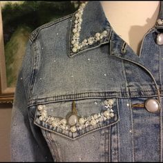 by Diane Gilman Jackets & Blazers - by Diane Gilman Denim Jacket? : by Diane Gilman Jackets & Blazers - by Diane Gilman Denim Jacket? Embellished Jeans, Denim And Lace, Denim Overalls, Denim Fashion, Diy Clothes, Blazer, Jackets, Dress Shoes, Shoes Heels