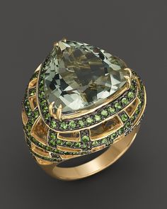 #shangrilagems designer unknown Green Amethyst and Tsavorite Ring in 14K Yellow Gold