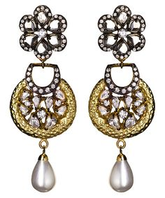 Meghna Designs White Faux Pearl Drop Earrings