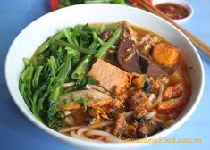 Shrimp and Pork Vermicelli Soup with Ong Choy Recipe (Canh Bún) from www.vietnamesefood.com.vn