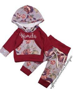 Girls Customized Burgandy Fall and Winter 2 Piece Hoodie  Bunny Hug Set.  Names For BabiesBaby ... 4f37cf69b40