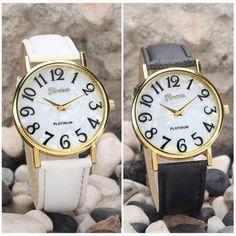 Fashion Large Number Dial PU Band Women Men Quartz Analog Wrist Watch Gift