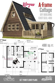 Small House Floor Plans (A-Frame Homes, Cabins, Cottages, Containers What a nice A-frame small house floor plan! It can be a really good vacation home for two.What a nice A-frame small house floor plan! It can be a really good vacation home for two. Tiny Cabins, Tiny House Cabin, Cabins And Cottages, Tiny House Design, A House, Small Cabin Plans, A Frame House Plans, Small House Floor Plans, A Frame Floor Plans