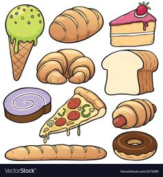Find Vector Illustration Bakery Set stock images in HD and millions of other royalty-free stock photos, illustrations and vectors in the Shutterstock collection. Thousands of new, high-quality pictures added every day. Cute Food Drawings, Art Drawings For Kids, Drawing For Kids, Preschool Crafts, Crafts For Kids, Pizza Vector, Food Clipart, Food Cartoon, Food Pyramid