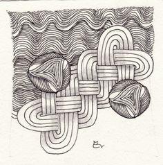 Ein Zentangle aus den Mustern Cozmik, Cruze, Magma, gezeichnet von Ela Rieger, CZT