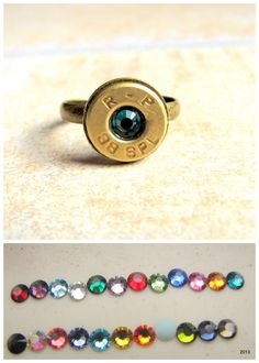 Bullet Ring- Birthstone Ring- Rustic Jewelry -38 Special - Adjustable Ring- Redneck Ring - Ammo Ring- Bullet Jewelry- Nickel or Brass. $11.00, via Etsy.