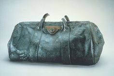 A gladstone bag from the RMS Titanic which was recovered from the ocean floor during an expedition to the site of the tragedy