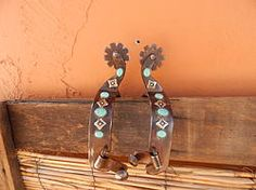 Turquoise and Square Flower All Around Spurs
