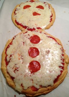 Snowman pizza with crescent roll crust - use round pyrex lids to cut the dough into circles.
