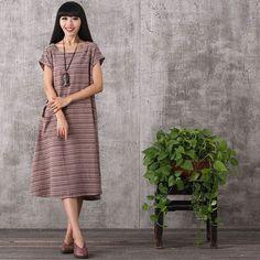 Women summer retro style stripe cotton linen dress