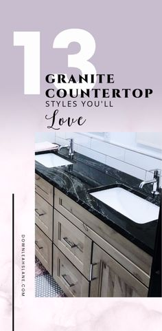 13 Granite countertop styles to help you choose which style is the one you'll love in your new house or remodel projects. Natural Stone Countertops, Black Granite Countertops, Kitchen Countertops, Kitchen Island, Countertop Options, Countertop Materials, Delicatus White Granite, Modern Farmhouse Bathroom, Kitchen Design