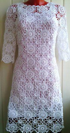 White crocheted dress made from cotton, wedding dress, organic clothing, crochet fashion, handm – 2019 - Cotton Diy Cotton Wedding Dresses, Crochet Wedding Dresses, White Crochet Dresses, Crochet Woman, Handmade Dresses, Crochet Fashion, Colorful Fashion, Crochet Clothes, Dress Patterns