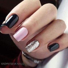 Nails Art Ideas That You'll Want To Try Right Now different color nails. black, pink and glitter nail polish colorsdifferent color nails. black, pink and glitter nail polish colors Cute Acrylic Nails, Acrylic Nail Designs, Glitter Nails, Cute Nails, Nail Art Designs, Nails Design, Acrylic Gel, Classy Nails, Stylish Nails